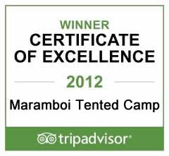 TripAdvisor Certificate of Excellence 2012 - Maramboi Tented Camp