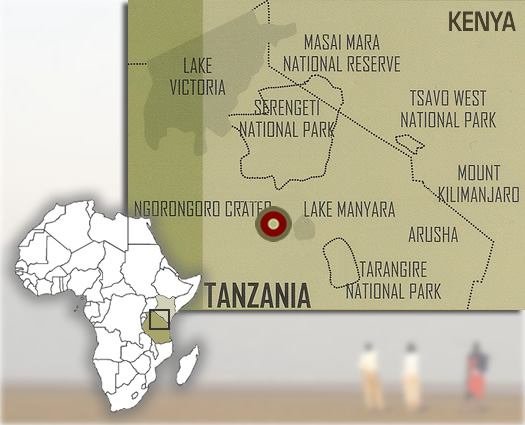 Map showing the location of Lake Masek luxury tented safari camp